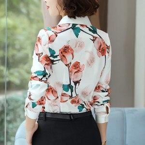 Image 3 - Mode Rose imprimé chemise femmes printemps nouveau tempérament à manches longues en mousseline de soie blouse bureau dames personnalité grande taille hauts