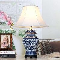 BDBQBL Китайский классический светодио дный настольная лампа синий и белый фарфор бутылка Таблица освещение для ресторана Спальня учебный ст