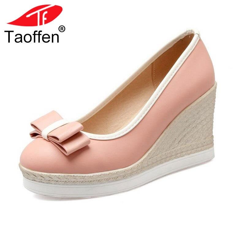 TAOFFEN Klassische Marke Frauen Keile High Heels Plattform Runde Kappe Pumpen Frauen Mädchen Bowtie Slip-on Zapatos Mujer Schuhe größe 33-43