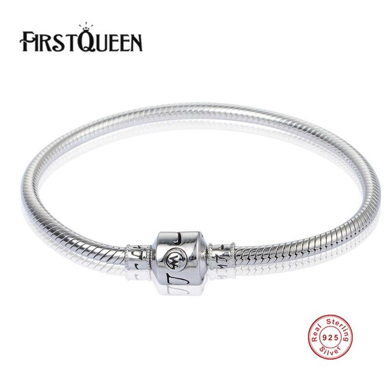 FirstQueen haute qualité véritable argent 925 Bracelets s'adapte à charmes perles bricolage pour les femmes et les hommes argent bijoux fins