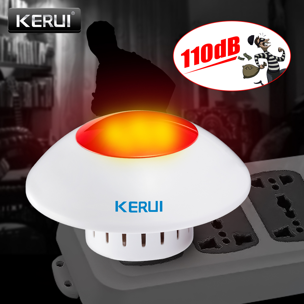 KERUI Forte Sirena Interna Wireless Lampeggiante Sirena di Allarme Corno Rosso Luce Stroboscopica Sirena Per Sicurezza Domestica di GSM e di Allarme di Business