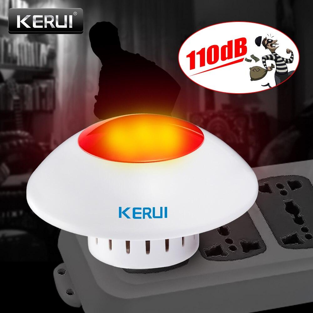 Sirena de interior ruidosa KERUI sirena intermitente inalámbrica sirena alarma cuerno luz roja sirena estroboscópica para GSM Hogar y alarma de negocios Seguridad