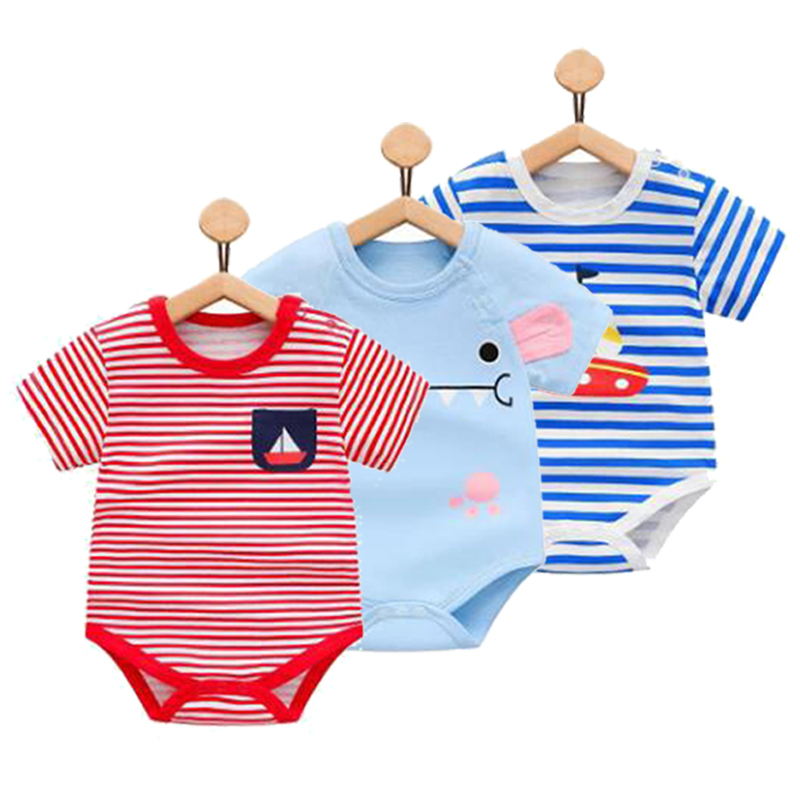 aef6ed99d35e Newborn Baby Boy Summer Clothing Triangle Climb Clothes Girls Cotton Short  Sleeved Bodysuit Thin Summer Body For Newborn Babys