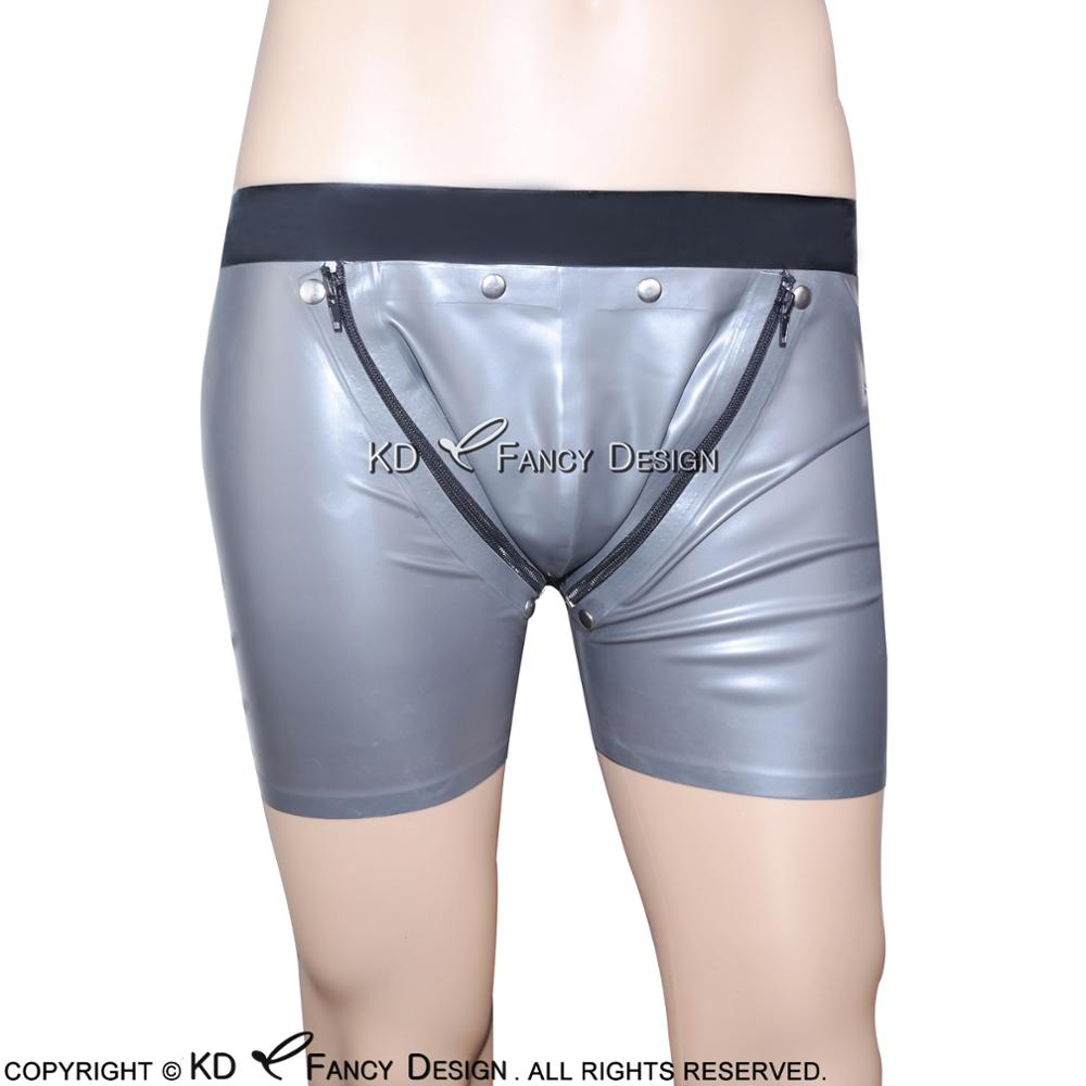 Silve With Black Trims Sexy Latex Boxer Shorts With Two Zippers Open Holds Rubber Boy Shorts Underpants Underwear Briefs DK-0065