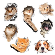 Hole View Cat Dog 3D Wall Sticker Cartoon Toilet Stickers Bathroom Home Decoration Animal Vinyl Decals Art Sticker Wall Poster(China)