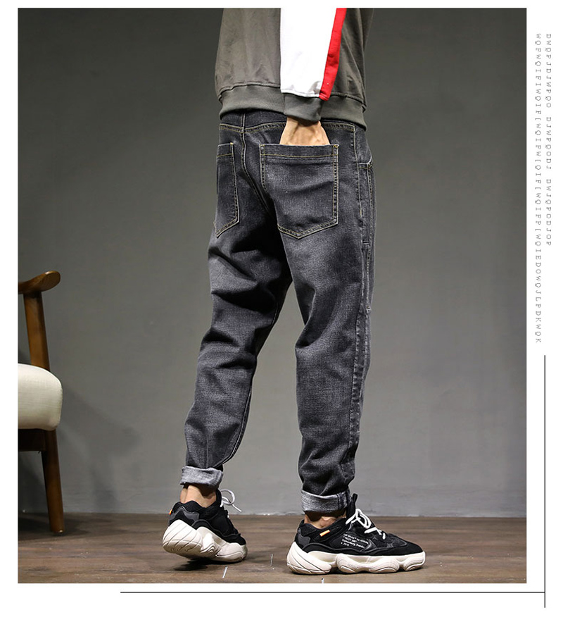 2019 High Street Fashion Men Jeans Loose Fit Harem Pants Blue Gray Color Punk Style Hip Hop Jogger Jeans For Men Cargo Pants in Jeans from Men 39 s Clothing