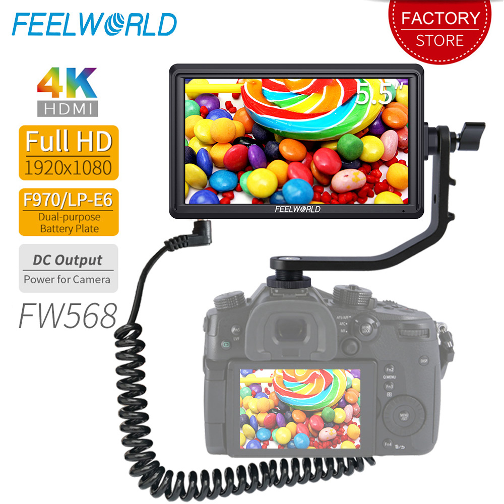 FEELWORLD FW568 5.5 inch DSLR Camera Field Monitor 4K HDMI Full HD 1920x1080 LCD IPS DC Output Video Focus Assisting for Cameras-in Monitor from Consumer Electronics    1