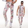 Personalidade masculina de couro fino calças dos homens calça Casual moda dj cantora de boate Ds trajes masculinos