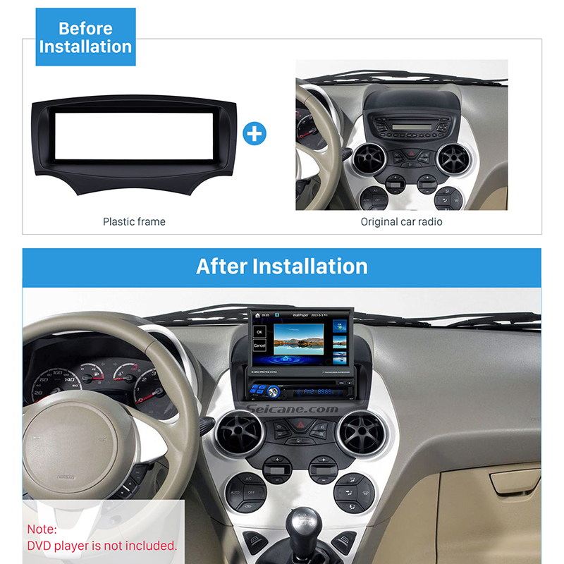 Seicane Din Car Radio Fascia For   Ford Ka Stereo Radio Installation In Dash Mount Kit Outter Frame Mm In Fascias From Automobiles