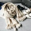 Invierno clásico sólido textura Bufanda y bufandas de cachemira mujeres de Bajos 2017 bola de pelo de conejo con flecos gruesa cálido chal femenina C024