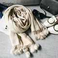 Winter classic solid cashmere texture Scarf and scarves women LICs 2017 Rabbit fur ball fringed thick warm shawl female C024