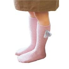 От 1 до 8 лет Демисезонный манжетами носки для девочек хлопок белый розовый Детские гетры с бахромой однотонные Теплые до середины икры Детские носки для детей