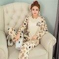 2016 Primavera/Otoño Nueva llegada de las mujeres pijamas pijamas camisón de dos piezas del o-cuello de manga larga conjunto de Punto de algodón casual homewear
