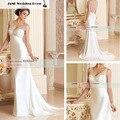 2017 Простой Элегантный Sexy Beach Свадебное Платье 2017 Новый Милая See Through Назад Свадебное Платье Vestidos De Novia W912