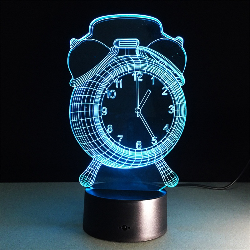 Alarm Clock 3D Lamp Visual LED Night Light Colorful 3D Lamp Creative Touch Desk Lamp Bedroom Sleep Light Decorative Lamp