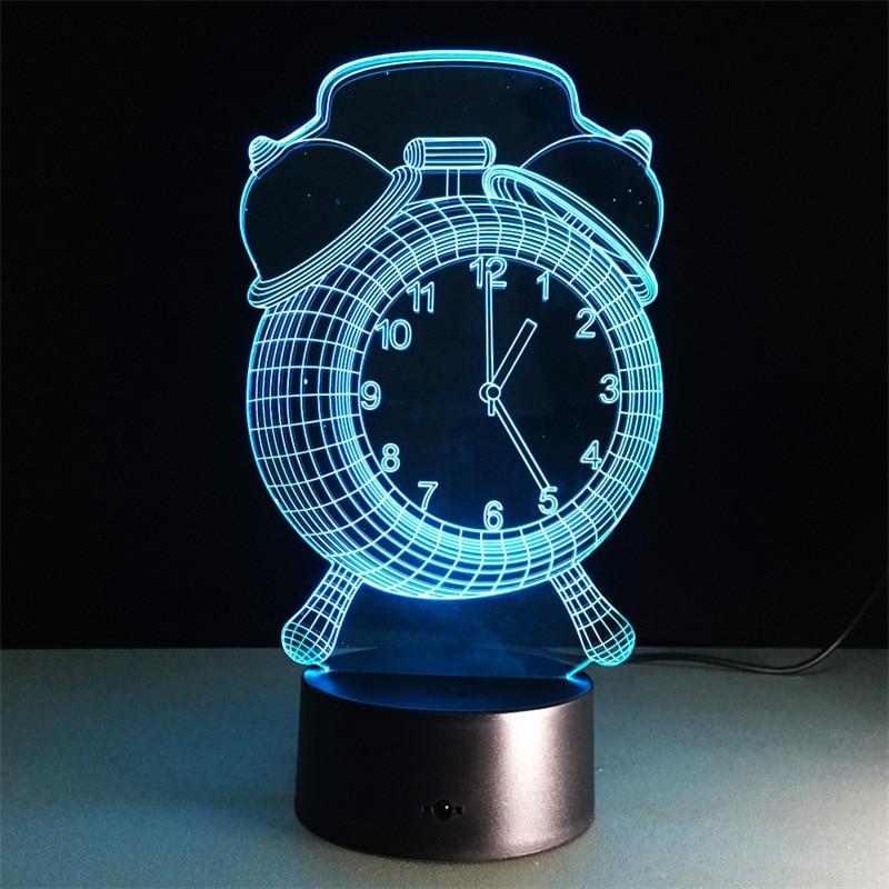 Alarm Clock 3D Lamp Visual LED Night Light Colorful 3D Lamp Creative Touch Desk Lamp Bedroom Sleep Light Decorative Lamp