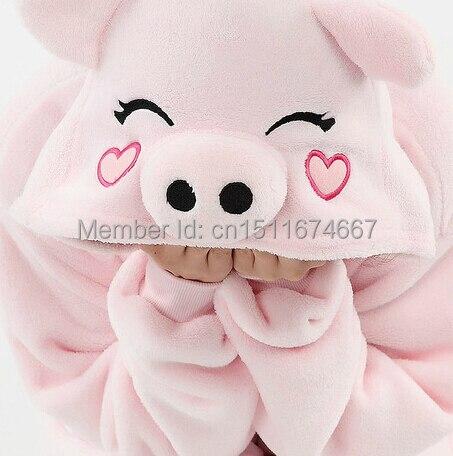 두꺼운 소프트 플란넬 애니메이션 의상 핑크 돼지 Onesie Pyjama 할로윈 카니발 파티 의류