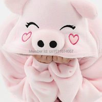 Thick Soft Flannel Anime Costume Pink Pig Onesie Pajama Halloween Carnival Party Clothing