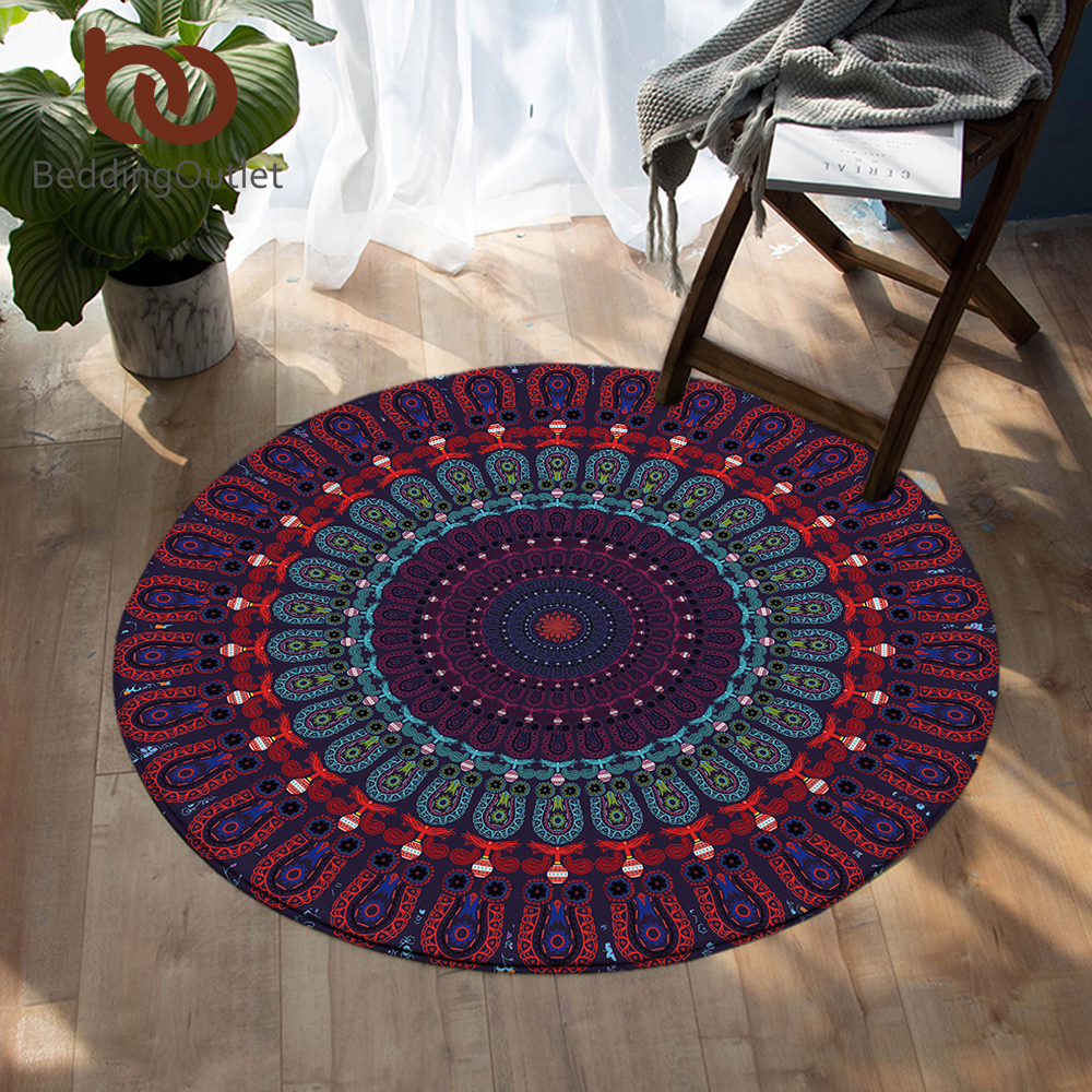 Living Room With Round Rug: BeddingOutlet Mandala Bedroom Carpets Bohemian Round Area