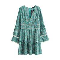 Jastie V Neck Flare Sleeve Women Dress Patchwork Lace Casual Beach Dresses Loose Hippie Boho Dress Retro Floral Print Dresses