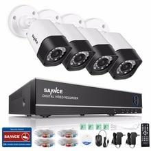 SANNCE 4CH 1080P HDMI Output 720P CCTV DVR Kit 720P 1.0MP Security Camera System 1500TVL Home Video Surveillance kit