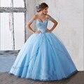 2017 Novo vestido de Baile Lace Applique Vestido Quinceanera Doce 16 vestido de festa Céu Azul Tule Cristais Beading Vestido Quinceanera