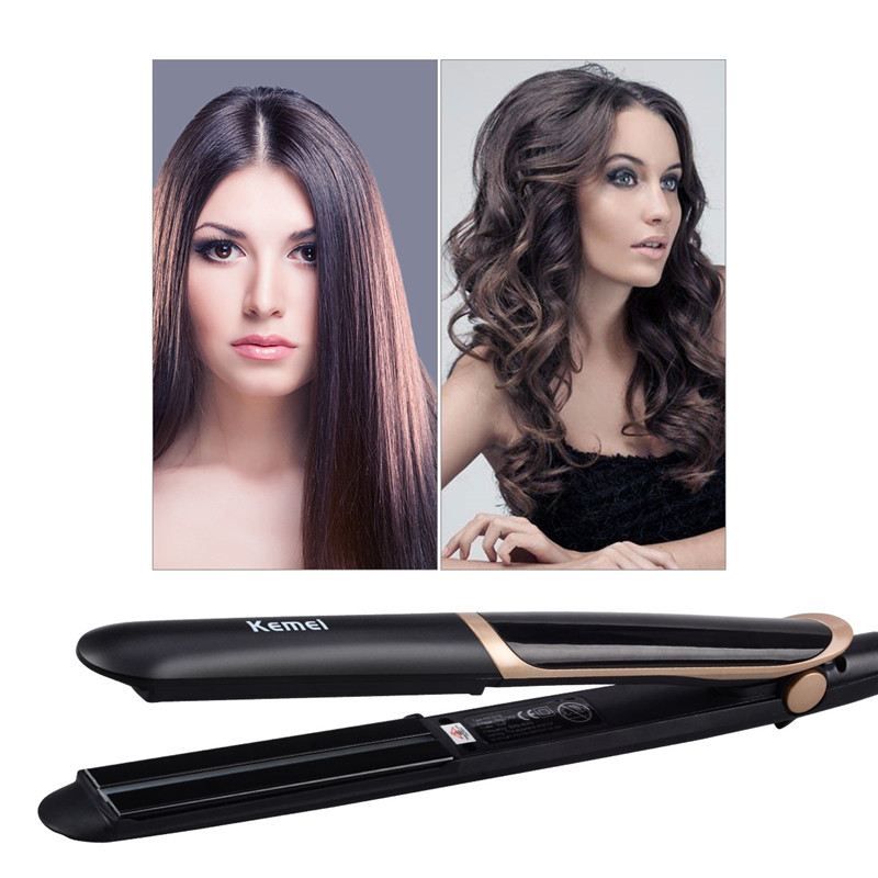 Kemei Ceramic Curler Straightener 2 in 1 Straightening Curling Flat Iron Rollers Wave Heat LED Display Hair Styling Tools 4 in 1 hair flat iron ceramic fast heating hair straightener straightening corn wide wave plate curling hair curler styling tool