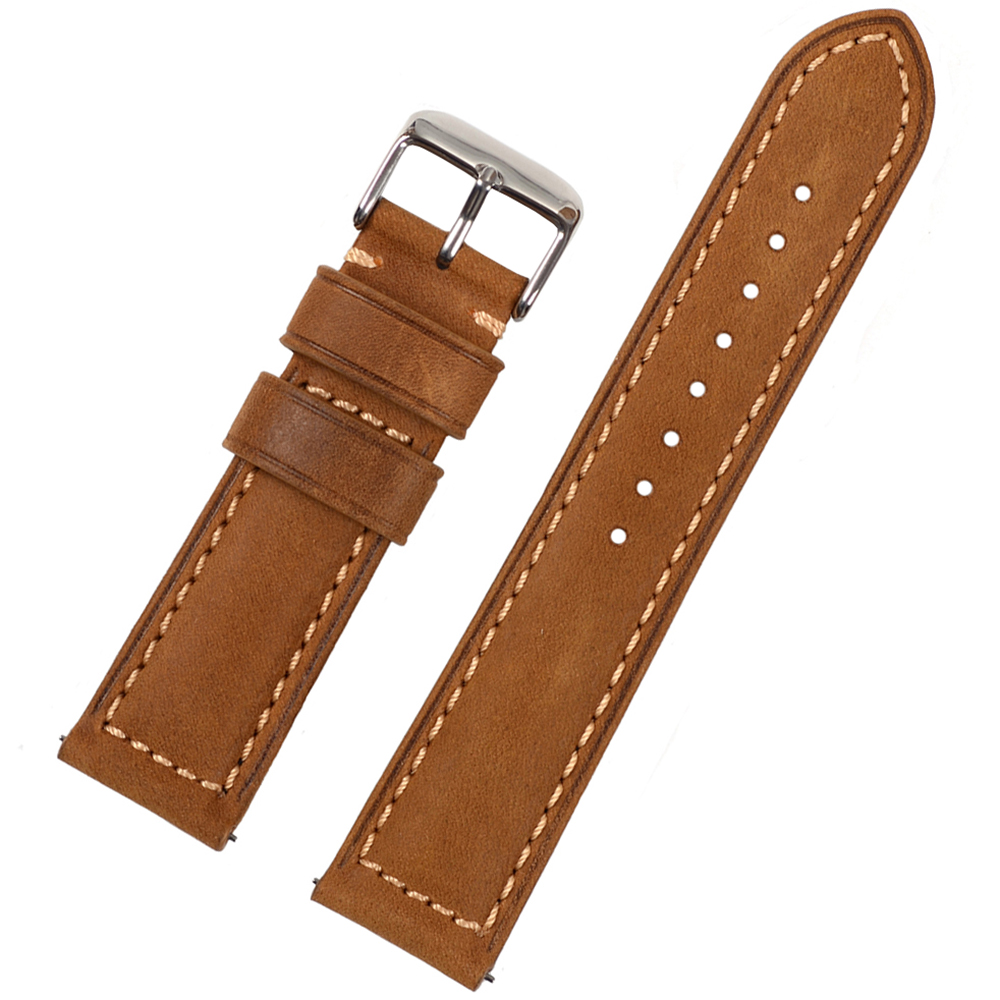 EACHE  Handmade Matte Vintage Soft Genuine Leather Watchband Watch Strap with Quick Release Spring bar 20mm 22mm new matte red gray blue leather watchband 22mm 24mm 26mm retro strap handmade men s watch straps for panerai