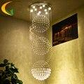 E27 Cristal Moda lustre escadaria dupla união salão villa escadas lâmpadas escada lâmpada lustre pendurado longo