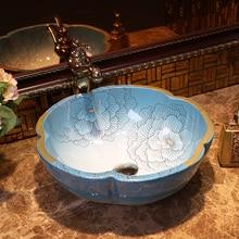 Peony Jingdezhen Bathroom Ceramic Sink Wash Basin Porcelain Counter Top  Wash Basin Bathroom Sinks Antique Vessel Sink