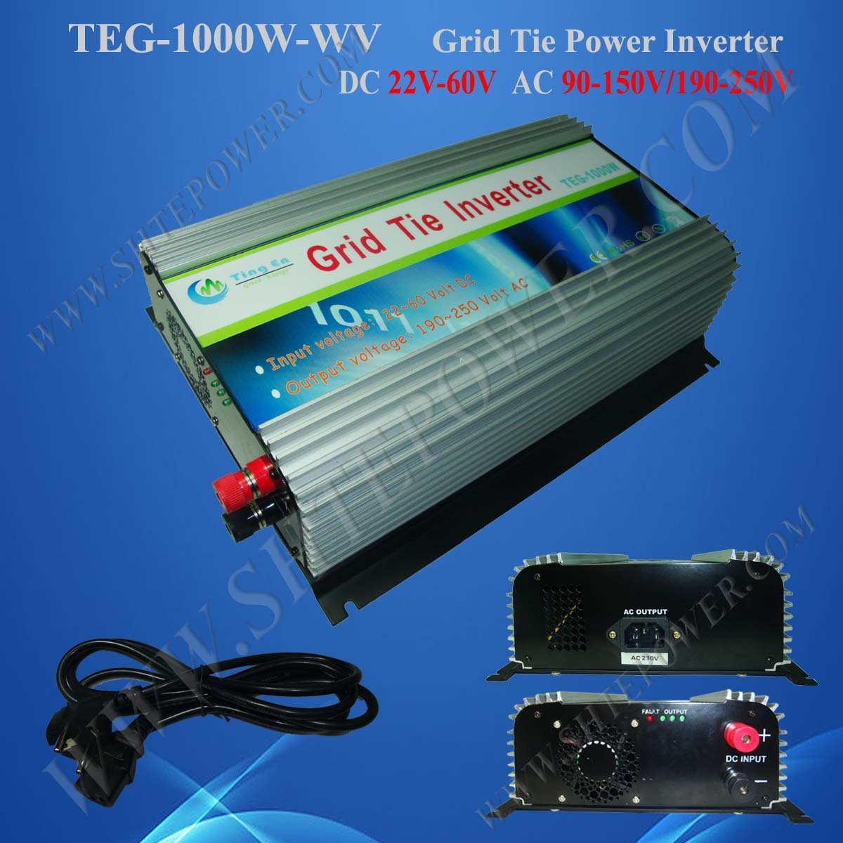 High Efficiency, MPPT, 2pcs/lot, Grid Tie Solar Inverter DC22-60V 1000W 1KW Pure Sine Wave Inverter solar power on grid tie mini 300w inverter with mppt funciton dc 10 8 30v input to ac output no extra shipping fee