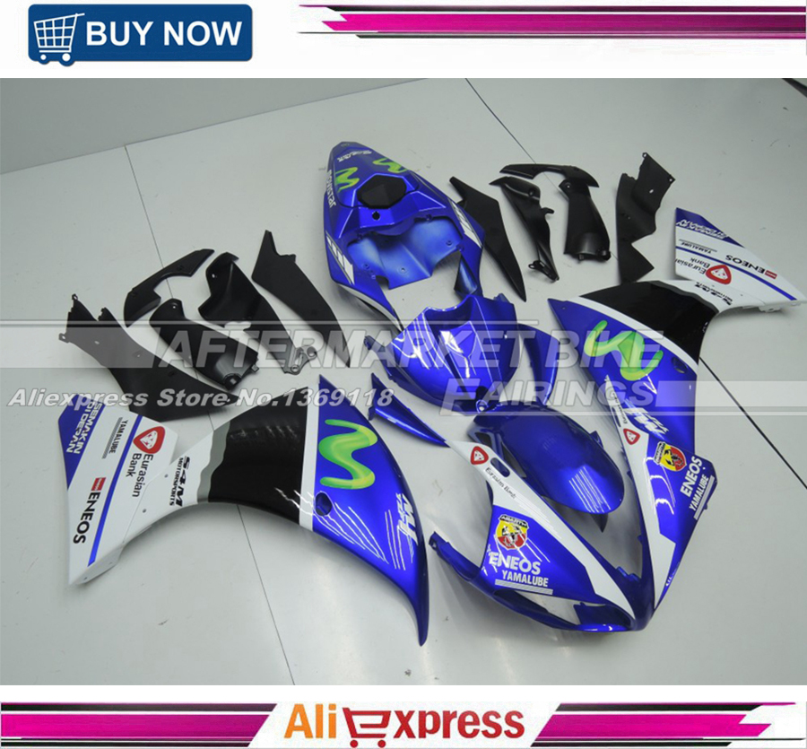 Free Windscreen Motorcycle Parts For Yamaha YZF R1 2009 2010 2011 Full Fairings Cowling With Free Rear Cowl BLUE MOVISTAR zero gravity sr series windscreen for 2006 2009 yamaha fz1