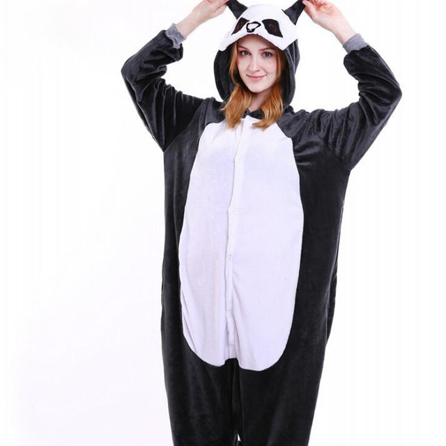 Animals Funny Onesie Flannel Pajamas Cartoon Anime Kugurumi  Panda Pokemon Unicorn Slumber Party Suit Adult Women Men Sleep Wear