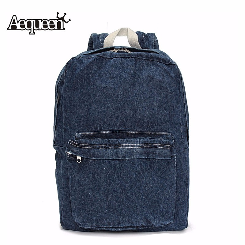 AEQUEEN Women Backpacks Summer Denim Jean School Bags For Teenagers Girls Boys College Mochilas Travel Backpack Rucksack стоимость