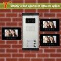 3 Units Apartment Intercom System 7 Inch Video Door Phone Intercom System Apartment Intercom Video Door Bell DoorPhone Doorbell