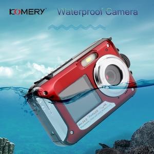 Image 1 - KOMERY WP01 المزدوج الشاشة الرقمية كاميرا مقاومة للماء 2.7K 4800 واط بكسل 16X التكبير الرقمي HD الموقت الذاتي شحن مجاني 3 سنة الضمان