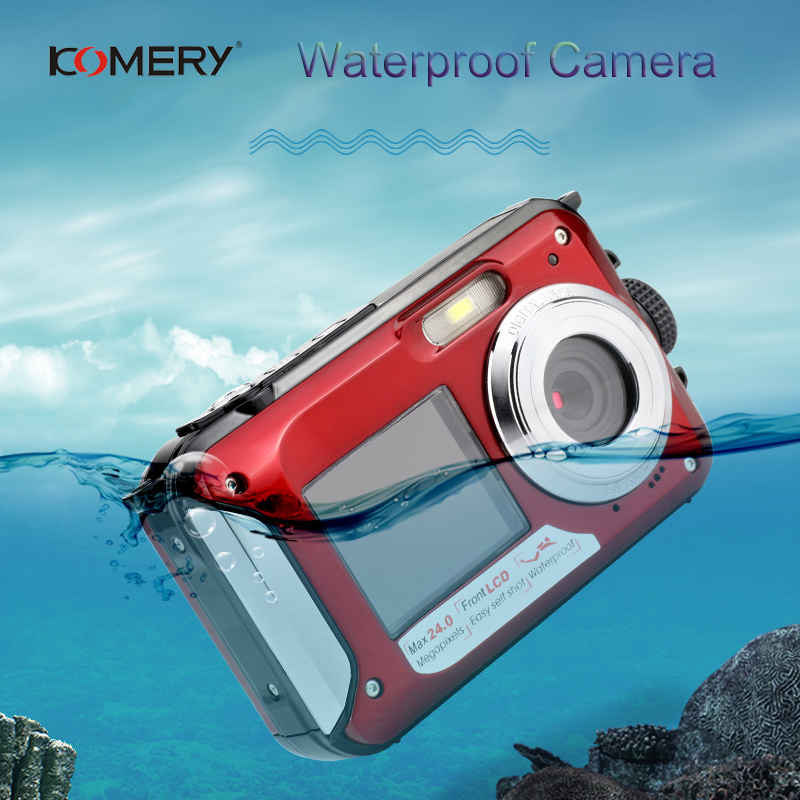 KOMERY WP01 Dual screen Digital Waterproof Camera 1080P 2400W Pixel 16X Digital Zoom HD Self timer Free Shipping 3 Year Warranty-in Consumer Camcorders from Consumer Electronics