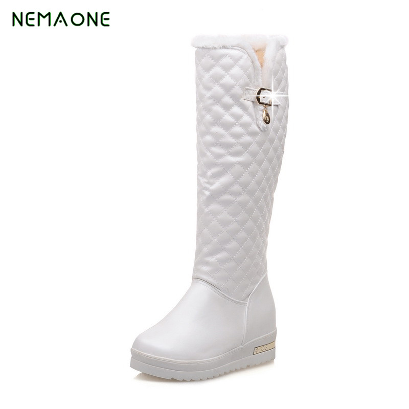 NEMAONE 2018 Winter boots for women fashion keep warm snow boots height increasing shoes woman knee high boots solid PU nemaone 2017 new fashion russia keep warm snow boots round toe platform knee high boots winter shoes women boots