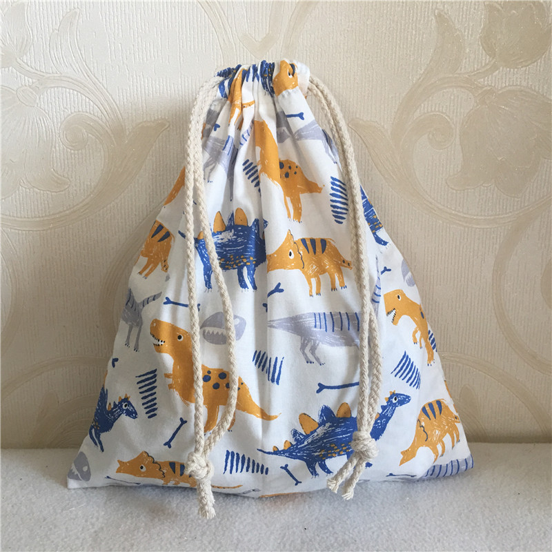 YILE Cotton Twill Drawstring Travel Organizer Bag Party Gift Bag Print Vintage Dinosaur 8705b