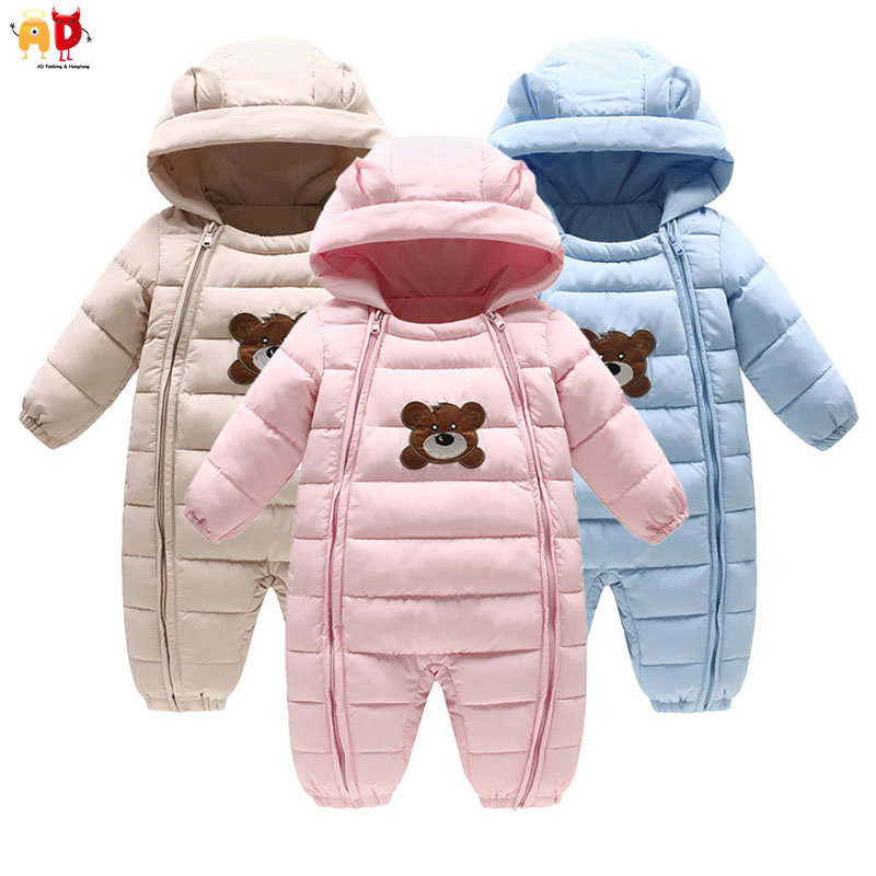 AD  Infant Snowsuit Down Cotton Baby Rompers Winter Thick Boys Girls Thermal Kid Jumpsuit Children Newborn Outerwear christmas 2017 brand new winter newborn infantil baby rompers kid boys and girls clothing real fur jumpsuit down overall jacket