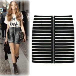 Aliexpress.com : Buy Black & White Stripes Skirt Jersey Mini Skirt ...