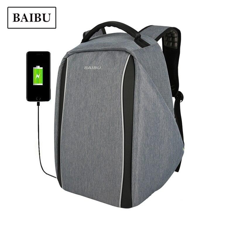 BAIBU Anti-theft Backpack USB Charging Men Laptop Backpacks Teenage Unisex School Bag Waterproof Travel Large Capacity Bagpack 2017 markryden men backpack student school bag large capacity trip backpack usb charging laptop backpack for14inches 15inches