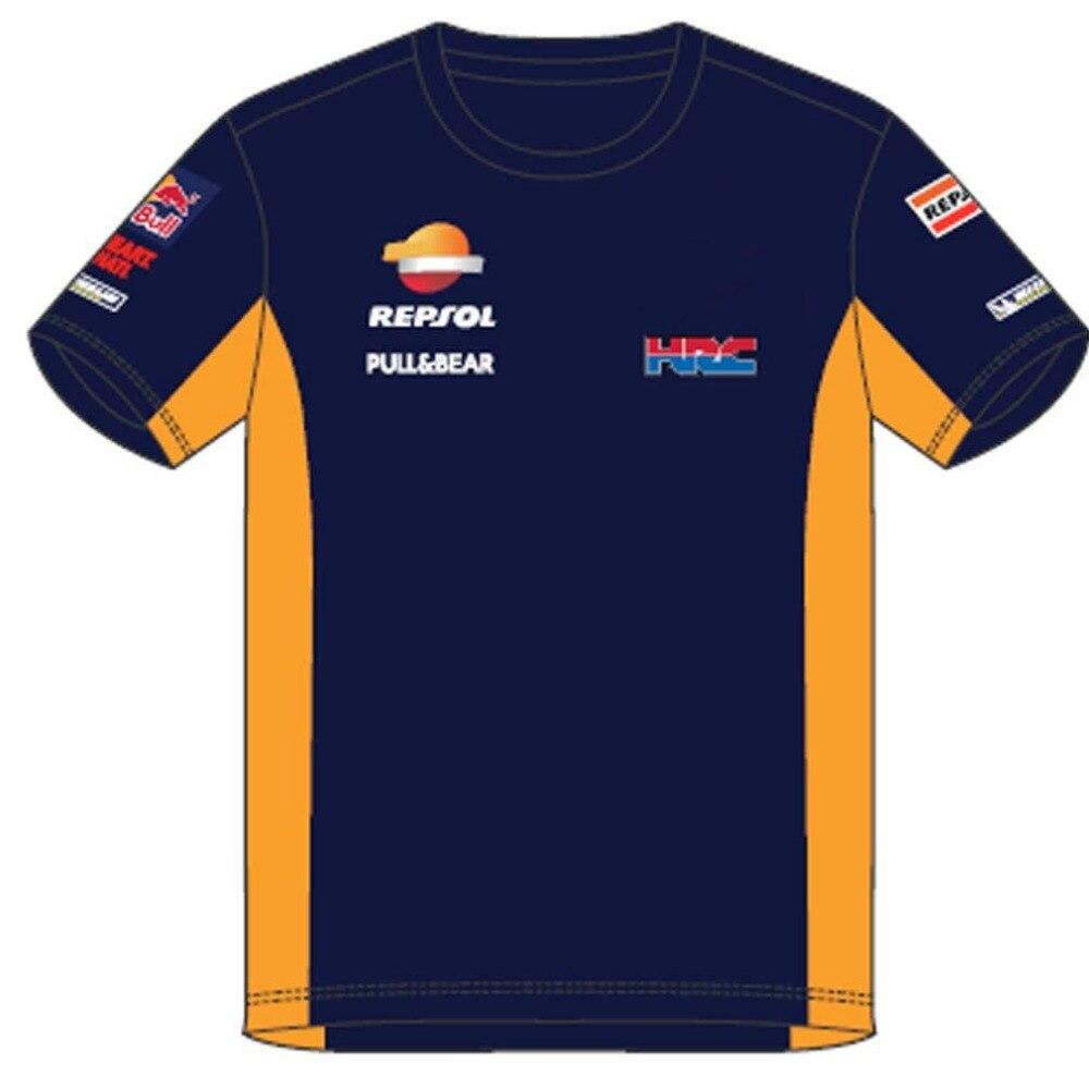 Free shipping 2018 MOTO GP Marc Marquez 93 HRC Repsol Moto GP Teamwear Panel Blue T-shirt ATV BIKE Men's T Shirt
