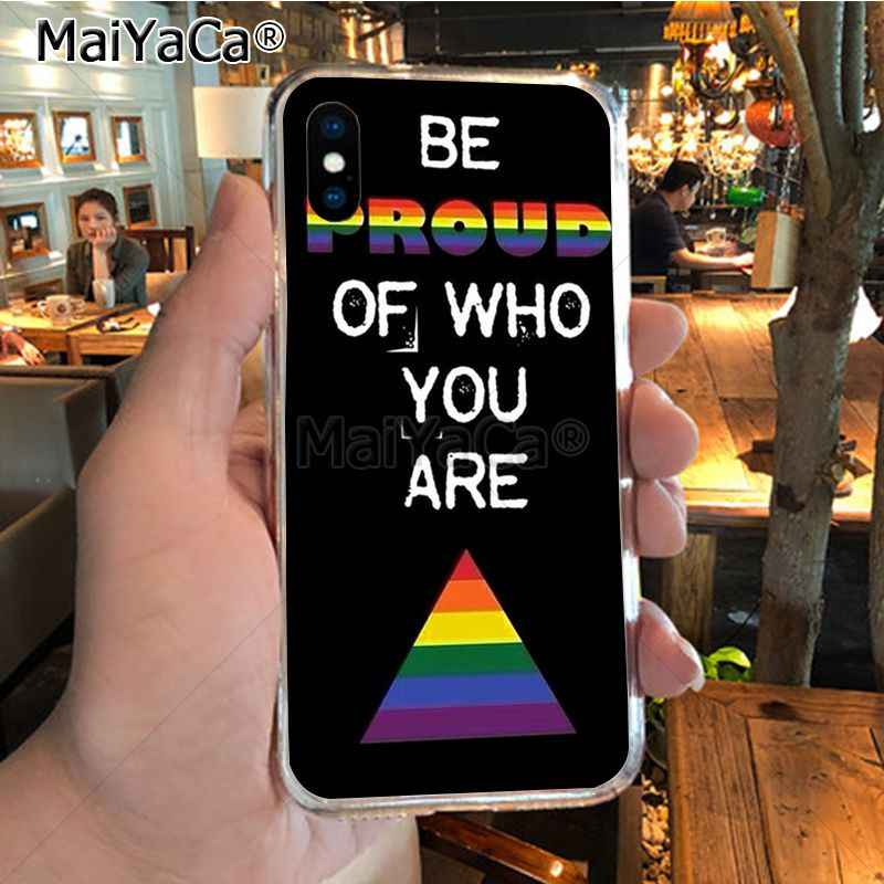 MaiYaCa lesbiana LGBT Arco Iris orgullo arte colorido teléfono accesorios funda para iPhone X XS MAX XR 6S Plus 5S funda de 7 8PLUS