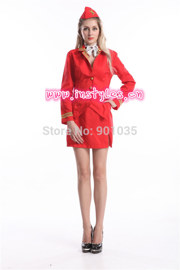 Red Virgin Cabin Crew Trolley Dolly Air Hostess Ladies Fancy Dress Costume