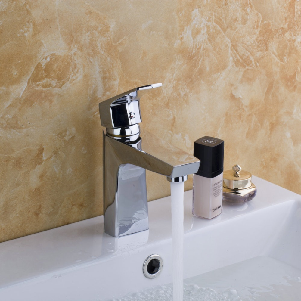 Monite Small Stream Flow Bathroom Deck Mounted  Taps Chrome Finished  With Single Lever Solid Brass Vanity Sink Basin Faucet brand new deck mounted chrome single handle bathroom