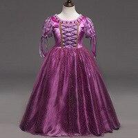 Venta caliente de Las Muchachas Rapunzel Princesa Vestidos Niños Vestido de Partido Cosplay Traje Púrpura Cruz Niños Cenicienta Vestido Sofia Ropa