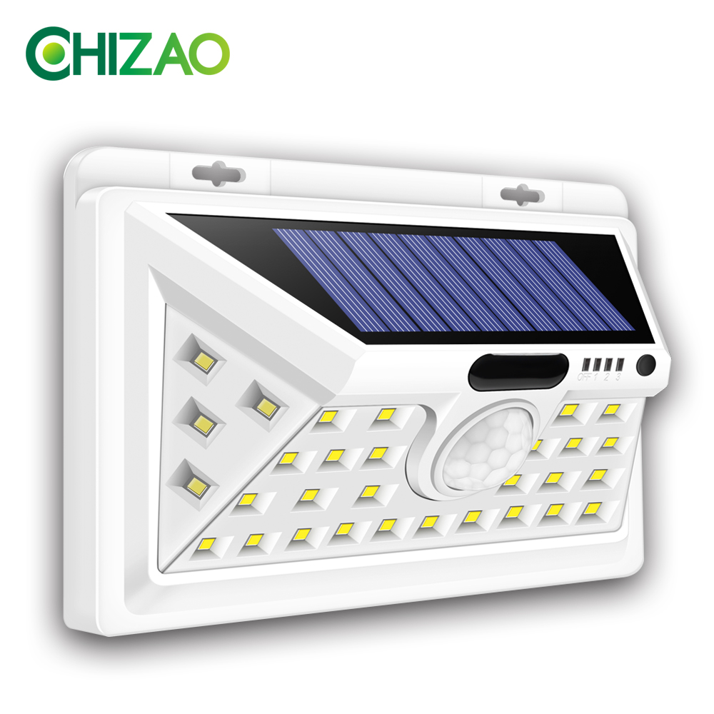 CHIZAO Solar Lights Outdoor Motion sensor Night security wall lamp 16 20 34 LED Waterproof Energy