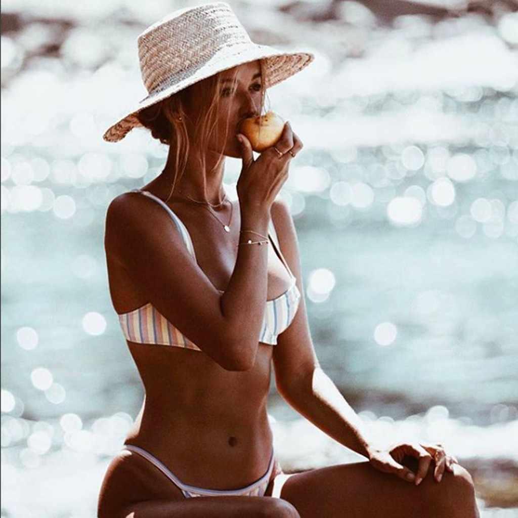 MUQGEW nowy lato Tankini strój kąpielowy kobiety Sexy paski push-up biustonosz usztywniany plaża Halter Bikini zestaw stroje kąpielowe strój kąpielowy #1211