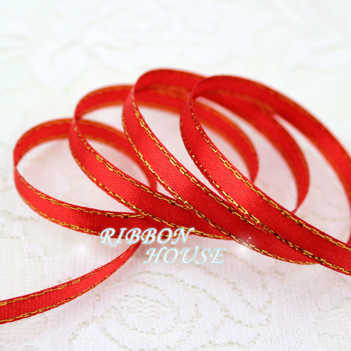 (25 ярдов/рулон) 1/4 »(6 мм) Красные атласные ленты золотой край лента высокое качество подарочная упаковка ленты